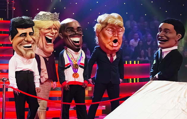 From Primal Media   Bigheads: Ep1 on ITV  Pictured: Simon Cowell, Camilla, Mo Farah and Donald Trump.  This photograph is (C) Primal Media and can only be reproduced for editorial purposes directly in connection with the programme or event mentioned above. Once made available by ITV plc Picture Desk, this photograph can be reproduced once only up until the transmission [TX] date and no reproduction fee will be charged. Any subsequent usage may incur a fee. This photograph must not be manipulated [excluding basic cropping] in a manner which alters the visual appearance of the person photographed deemed detrimental or inappropriate by ITV plc Picture Desk.  This photograph must not be syndicated to any other company, publication or website, or permanently archived, without the express written permission of ITV Plc Picture Desk. Full Terms and conditions are available on the website www.itvpictures.com  For further information please contact: james.hilder@itv.com / 0207 157 3052