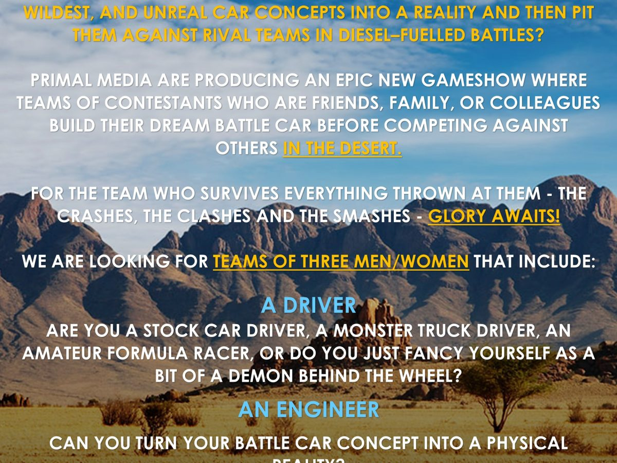 Contestants Wanted for Epic New Car Game Show
